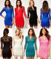 New Fashion Vintage Ladies' Full Lace Sexy V-Neck Slim Middle Sleeve Dresses Stretch Party Dress PD0029 New Wholesale