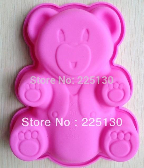 Free shipping 2PCS Bear shape Muffin Sweet Candy Jelly fondant Cake chocolate Mold Silicone tool Baking Pan(China (Mainland))