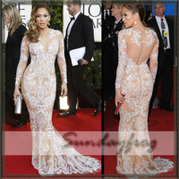 Real Images! Free Shipping Custom Made Jennifer Lopez Mermaid Beaded Embroidered Long Sleeve Nude Floor Length Celebrity Dress