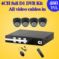 480tvl Home 4CH CCTV DVR Day Night indoor dome Security Camera Surveillance Video System 4ch Kit for DIY CCTV Camera D1 DVR kit