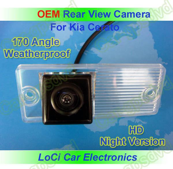 Free shipping! HD Rear View Kia cerato 2003- 2009 CCD night vision car reverse camera auto license plate light camera(China (Mainland))