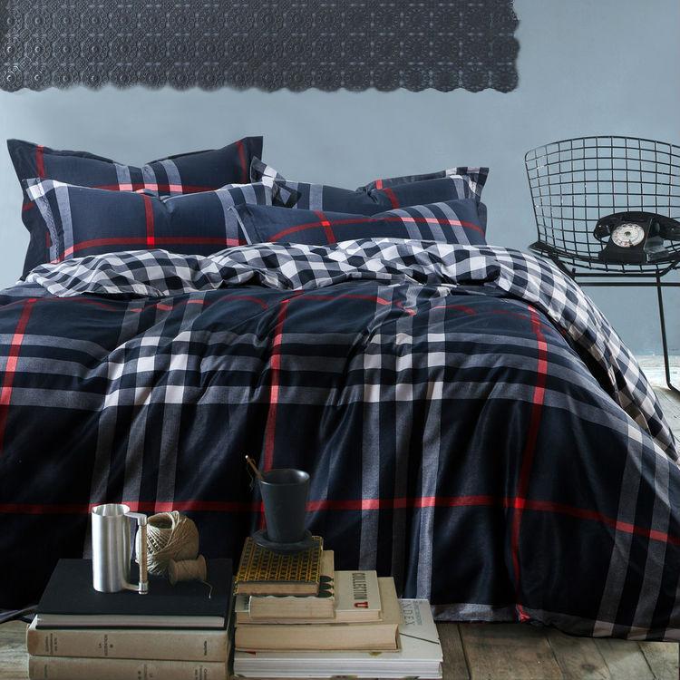 mens plaid stripe reactive print 4pc bedding set navy 100 cotton