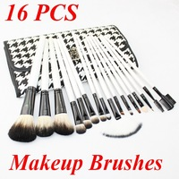 Professional 16 PCS Goat Hair Makeup Brush Set Kit Face Make up Brushes Free Shipping Fashion