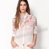 New Fashion 1pcs Women Summer Long Sleeve Flower Print Chiffon Top Shirt Blouse Size S/M/L cx651906