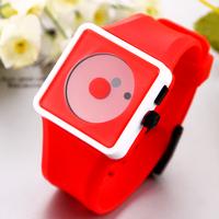 10pcs/lot Unisex Quartz Watch Fashion Sports Watches Smile Dot Hours Square Plastic Wristwatches Hot Selling