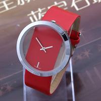 2014 New Sale10pcs/lot Transparent Fashion Casual Watches Steel Case PU Strap Ladies Quartz Watch Analog Dropship