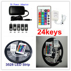5M/pcs SMD 3528 non-waterproof Color Changing 300LED RGB LED Strip +24keys with 2A power supply Controller Free shipping