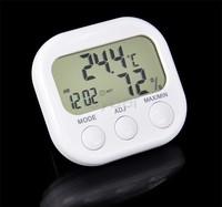 LCD Indoor Digital Thermometer Hygrometer Clock KS-005 White TK0440