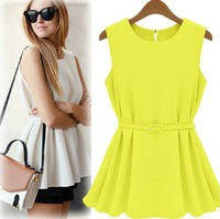 Summer New Chiffon Skirt Blouse Vest T-shirt Slim Waist With Belt Free Shipping LQ9023