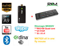 Newest 2GB Ram Rikomagic MK802IV RK3188 Quad Core Android 4.2 Smart Mini TV Box HDMI PC Stick+MK702II All in one Fly Air Mouse
