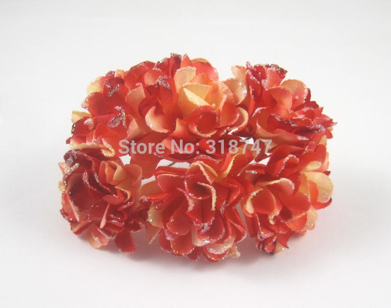 72pcs frete grátis cor vermelho Papel Mulberry Rosa artificial buquê de flores / fio haste / flor do casamento / home decr 027011011(China (Mainland))