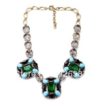 gold filled trendy brand inspired big green crystal gem retro vintage statement choker bib collar 2013 jc jewelry necklace
