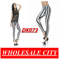 FREE SHIPPING 2013 Fashion Black and White Vertical Stripes Stretchy Skinny  Galaxy Leggings Slim Elastic