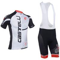 2013 Castelli Short Sleeve Cycling Jersey + Cycling Bib Shorts Kit Summer Cycling Clothing / Bicycle Jersey / Cycling Shorts