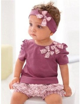Retail 20% discount Purple colour baby girl 3 piece set: bowknot headband+shirt + floral printed shorts Girls Baby Outfits Sets