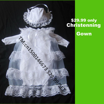 (Free Shipping) Baby Girl  white silk Christening Gown Dress Baptism Gift (SKU:702) Tailor made
