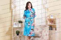Free Shipping 2014  Woman Good Quality Classic Style Peacock Silk Robe Kimono S-3XL
