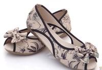 Fashion cotton-made designer brand beijing womwen shoes flower print bowknot cut out open toe flat sandals