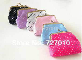 Fashion Canvas metal frame clutch purse coin purse small Tower button bag 12pcs mix color