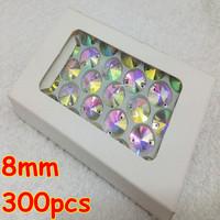 8MM  Rivoli Flatback Sew on Crystal Beads  AB color silver base Rhinestone with 2 Holes