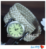 2013 hot wholesale Cow leather watch women watches leather woven watch belt Free Shipping P009