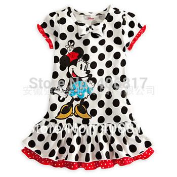 Big Promotion girl summer Dress 2014 kids girl Polka Dot Print Dress O-neck Girls Dress Bow Decor Colorful Dots Kids Dress