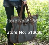 NEW 2014 Vintage commercial cowhide handbag canvas+crazy horse leather shoulder bag fashion canvas casual bag,women travel bags