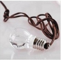 HOT!!! 2013 new arrival lovely mini light bulb necklace, unbreakable and irradiative bulb pendant for men women