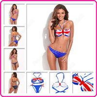 New National Flag Pattern Push-Up Halter Top Women Bikini Set Split Swimwear Swimsuit Bathing Suit S/M/L Free Shipping