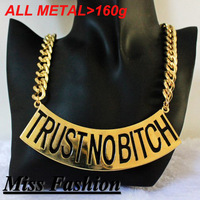 New Metal Chunky Chain Trust No Bitch Necklace ,Basketball Wives of LA Brooke Bailey 22 inch