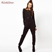 Casual Fashion Women Jumpsuit Street Style Zipper Patchwork Slash-Neck Mid-Waist Long Raglan Sleeve Rompers Overall D095
