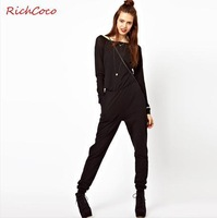 Fashion 2013 Women Cute Jumpsuit Street Style Zipper Patchwork Slash-Neck Mid-Waist Long Sleeves Jumpsuit Free Shipping D095