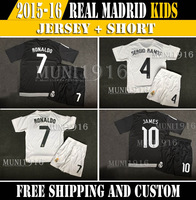 2014/15 Real Madrid kids youth soccer jersey,Ronaldo Bale BENZEMA ILLARRA isco ALONSO RAMOS KROOS JAMES soccer jersey Kids kit.
