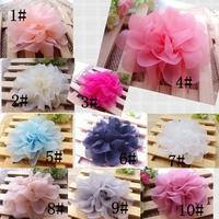 4.5 inch strong CHIFFON Flowers Hair Fabric Flowers Fluffy Flower Head 50pcs/lot