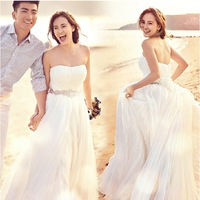 Free Shipping, Wedding Formal Dress Cheongsam Strapless Bridal-gown Draped Crystal Wedding Dress New Drop Shipping PD0042