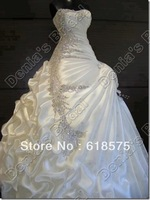 Luxurious A Line Sweetheart Beading Pleats Satin Real Pictures Crystal Wedding Dresses