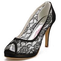 Black Sexy Cut outs Lace Heels EP11084-PF Peep Toe Platform Stiletto Heel Lace Wedding Bridal Fashion Ladies Dress Shoes