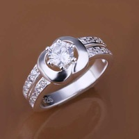 Free Shipping 925 Sterling Silver Jewelry Ring Fine Fashion Silver Plated Zircon Women&Men Finger Ring Top Quality SMTR163