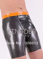 100% Nature sexy latex fetish shorts rubber briefs pants for man