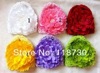 Newborn Baby Toddler Girl Cap Waffle Stretch Crochet Hat + 13.5cm Large Lace Peony Flower Clip Hair Accessories Headwear Retail