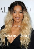 Free shipping 2013 new kim kardashian loose curly #4/27M613 two tone color synthetic lace front wig heat resistant