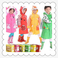 hot sales!!! 2013 child raincoat rain boots set  girl boy kid's rainwear  school bag belt