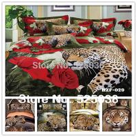 Free shipping 6 PCS 100% cotton 3d Animal printed Luxury Duvet cover set