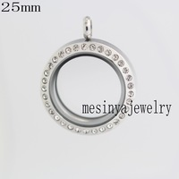10pcs Stainless steel 25mm magnet medium round glass locket for floating charms keepsake xmas gift , no charms included