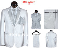 2013 New Arrival Slim Fit Glitter Wedding Suits For Men Five Pieces Groom Suits Men Suits White Sliver Coffee Black