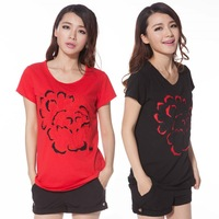 2014 summer plus size clothing embroidered short-sleeve T-shirt cotton Short Sleeve T-Shirt