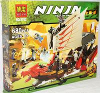 Free Shipping build block sets, Phantom Ninja series Large Dragon Boat 680pcs,5 minifigures educational toys children toys