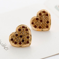 2014 New Arrival Top Quality Wholesale Gold Plated Austrian Crystal Heart Stud Earrings, Earring Jewelry, Free Shipping