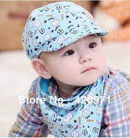 1 set /lot Top-Fashion Newest Cute Cartoon 3-24Months Unisex Baby peaked cap baby hat spring autumn cap+ Baby Bibs Free Shipping