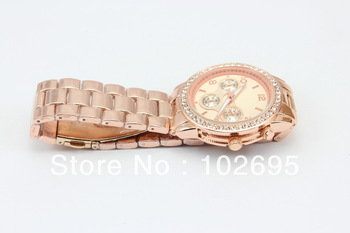 Free shipping NEW STYLE Lady Gold  Watch Round Stainless Steel Fashion Wristwatch with Diamond for men and  women dress watches